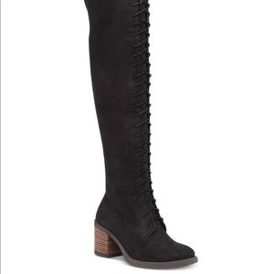 ✨Lucky Brand Black OTK Lace Up Boots